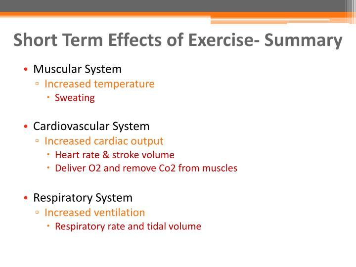 Short Term Effects of Exercise- Summary