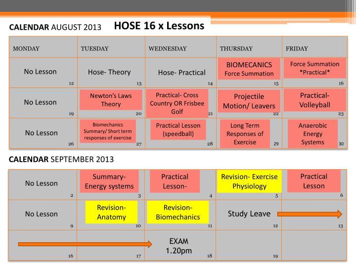 HOSE 16 x Lessons