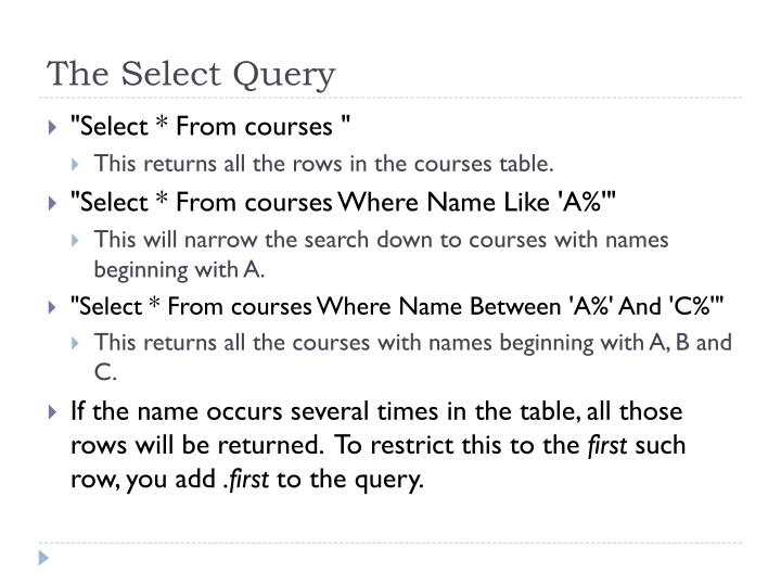 The select query