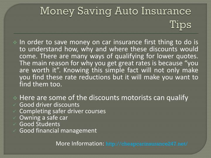 Money Saving Auto Insurance Tips