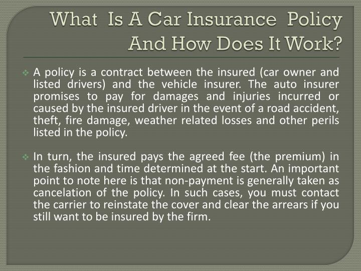 What is a car insurance policy and how does it work