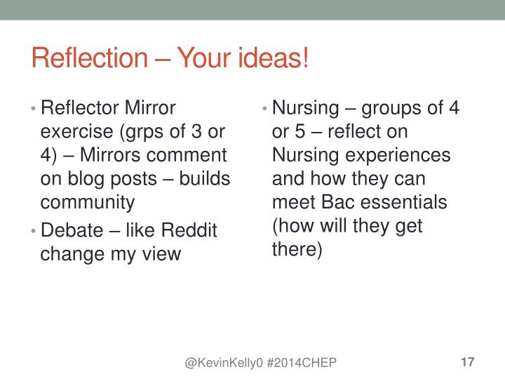 Reflection – Your ideas!