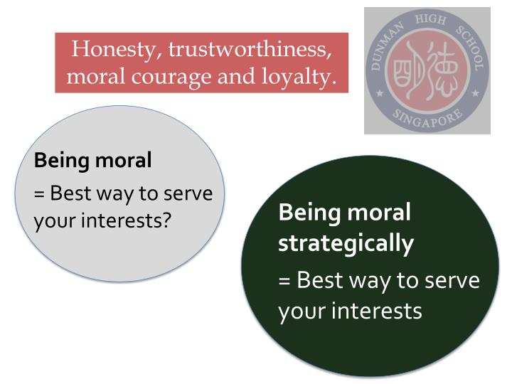 Honesty, trustworthiness, moral courage and loyalty.