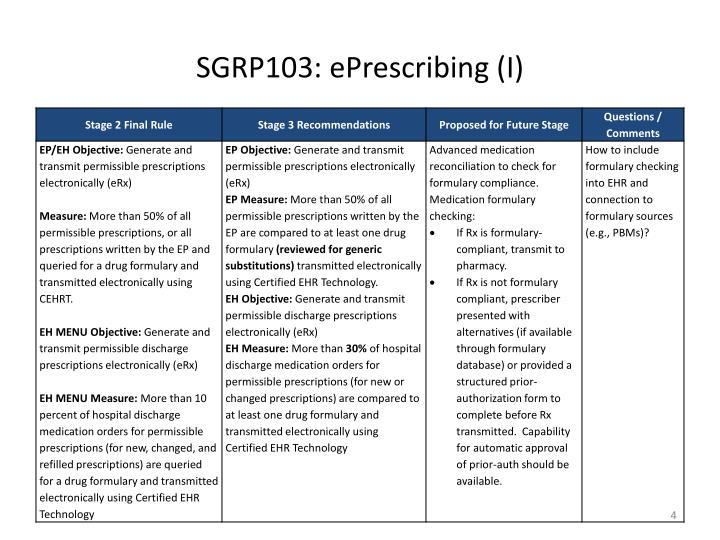 SGRP103: ePrescribing (I)