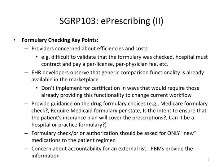 SGRP103: ePrescribing (II)