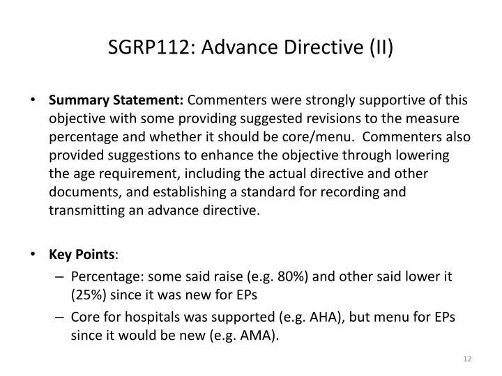 SGRP112: Advance Directive (II)