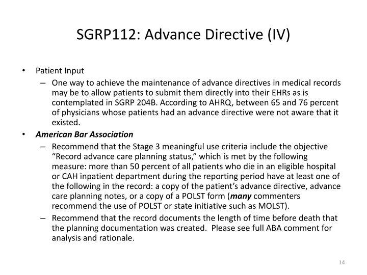 SGRP112: Advance Directive (IV)