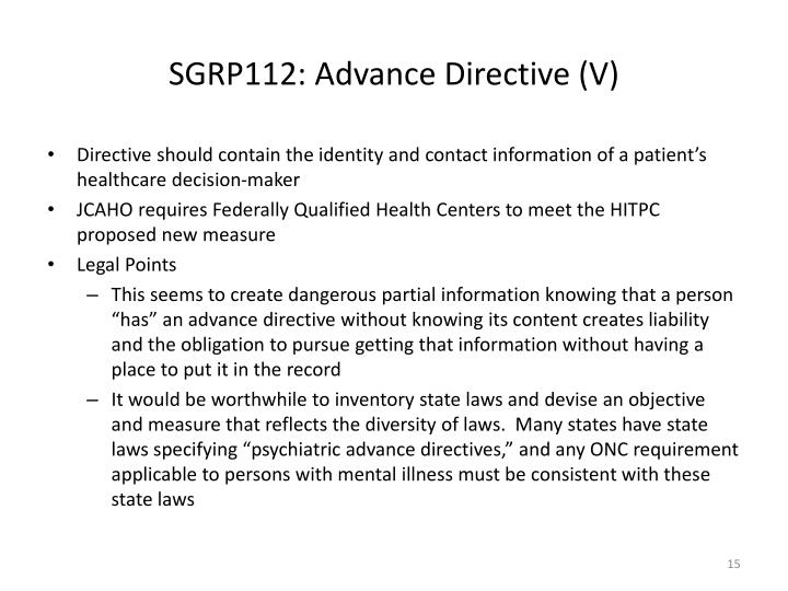 SGRP112: Advance Directive (V)