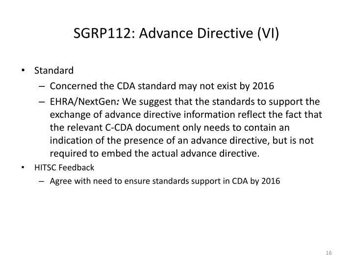 SGRP112: Advance Directive (VI)