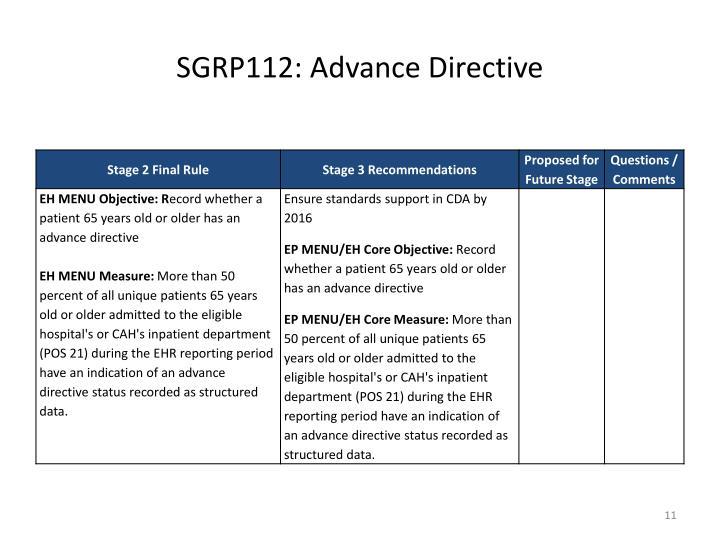 SGRP112: Advance Directive