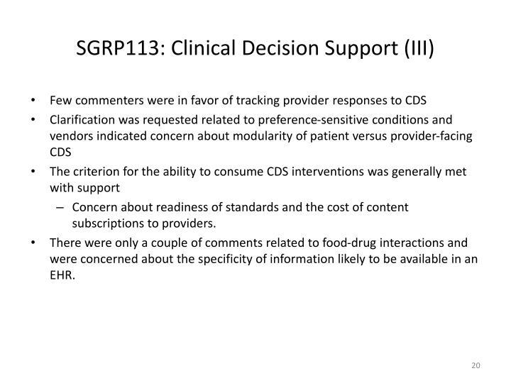 SGRP113: Clinical Decision Support (III)