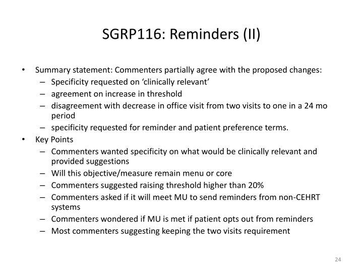 SGRP116: Reminders (II)