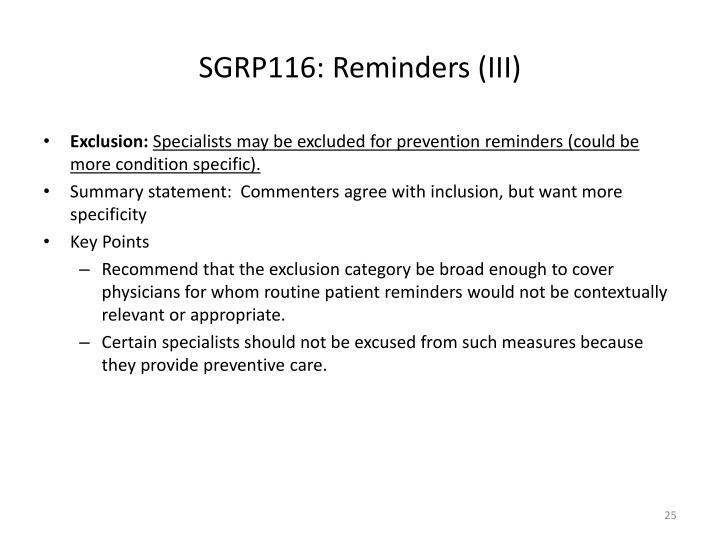 SGRP116: Reminders (III)
