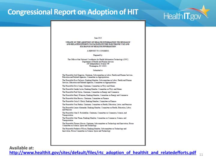 Congressional Report on Adoption of HIT