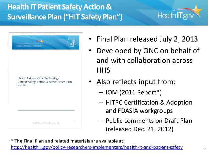Health it patient safety action surveillance plan hit safety plan