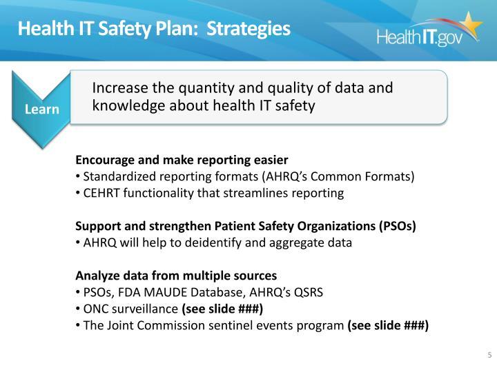 Health IT Safety Plan: