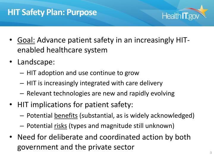 HIT Safety Plan: Purpose