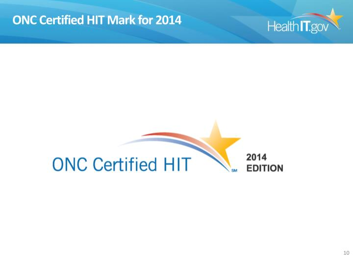 ONC Certified HIT Mark for 2014