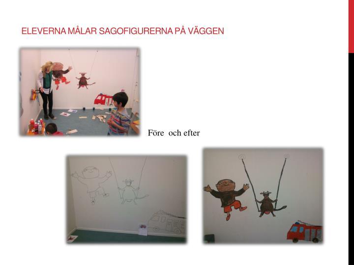 Eleverna målar sagofigurerna på väggen