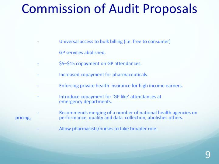 Commission of Audit Proposals