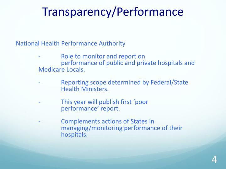 Transparency/Performance