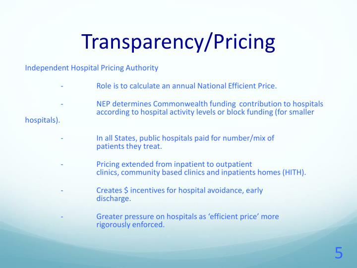 Transparency/Pricing