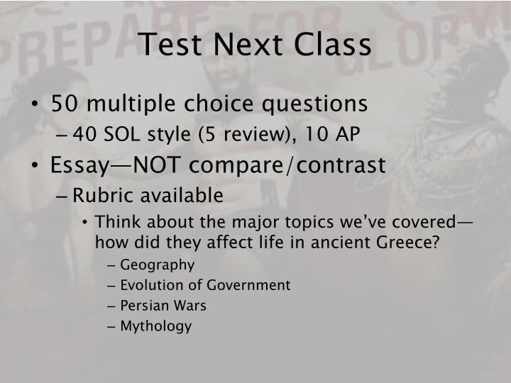 Test Next Class