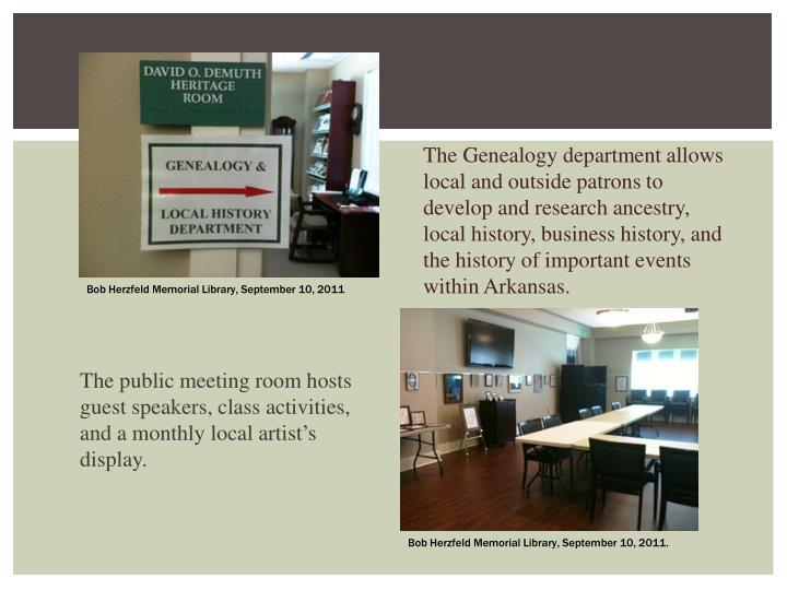 The Genealogy department allows local and outside patrons to develop and research ancestry, local history, business
