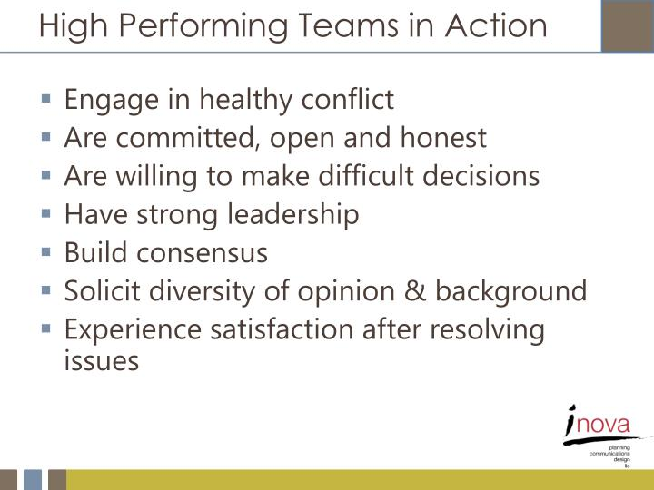 High Performing Teams in Action