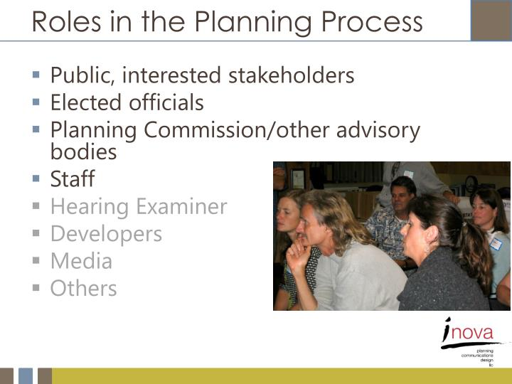 Roles in the Planning Process