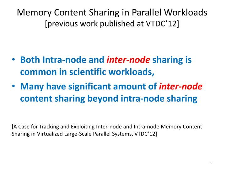 Memory Content Sharing in Parallel Workloads
