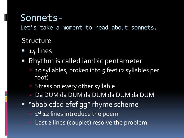 Sonnets let s take a moment to read about sonnets