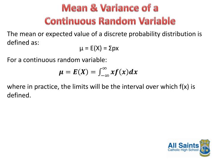 Mean & Variance of a