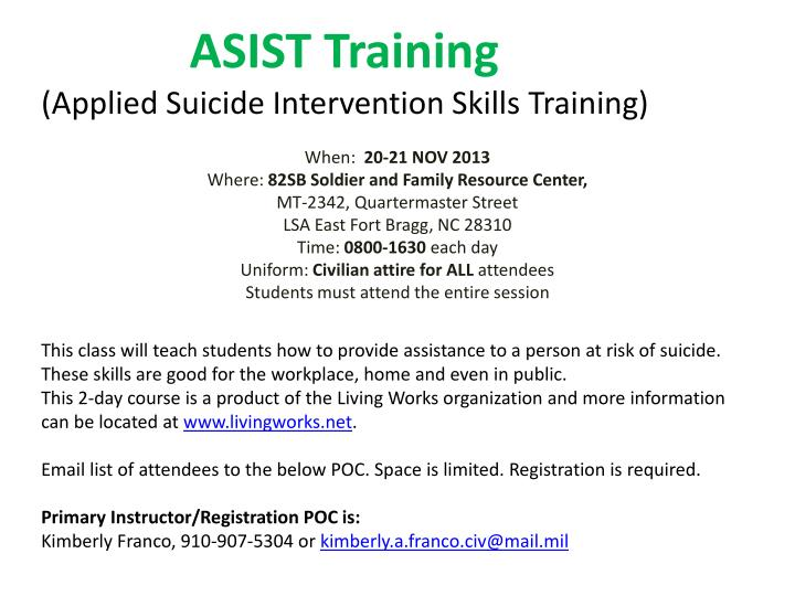 Asist training applied suicide intervention skills training