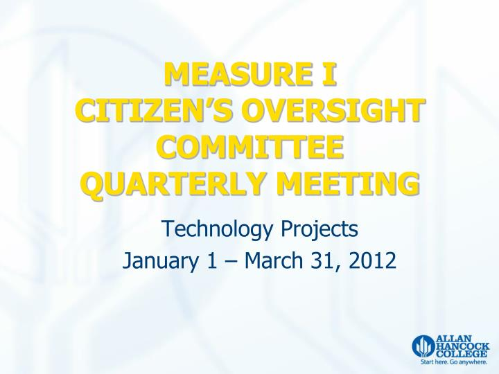 Measure i citizen s oversight committee quarterly meeting