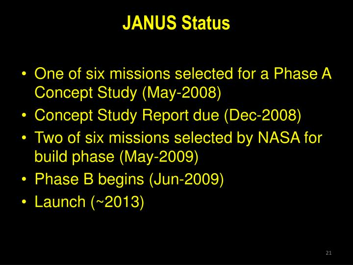 JANUS Status