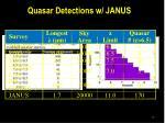 quasar detections w janus