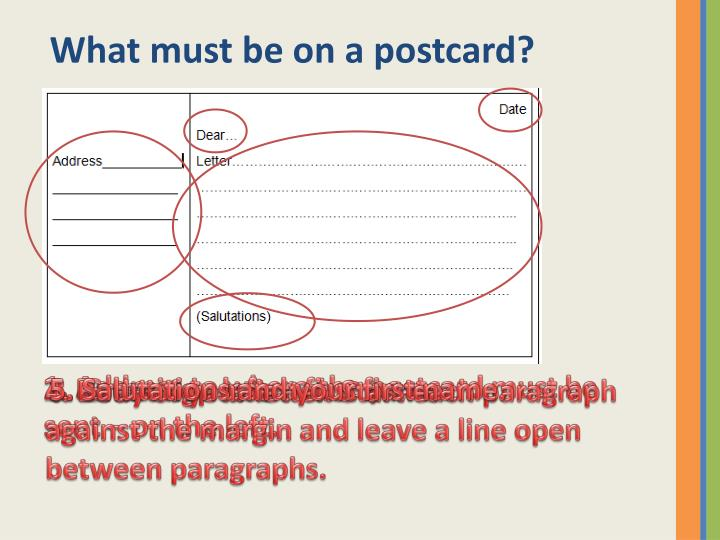 What must be on a postcard?