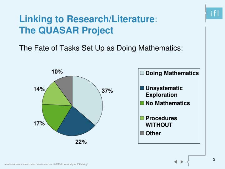 Linking to research literature the quasar project