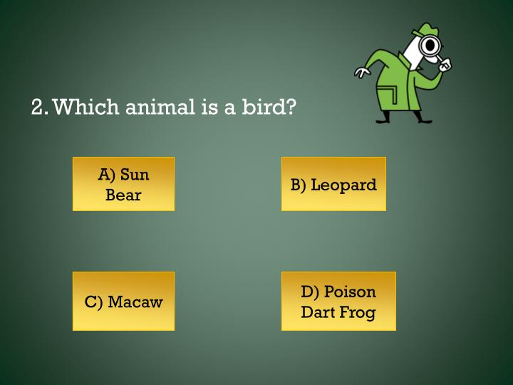 2. Which animal is a bird?