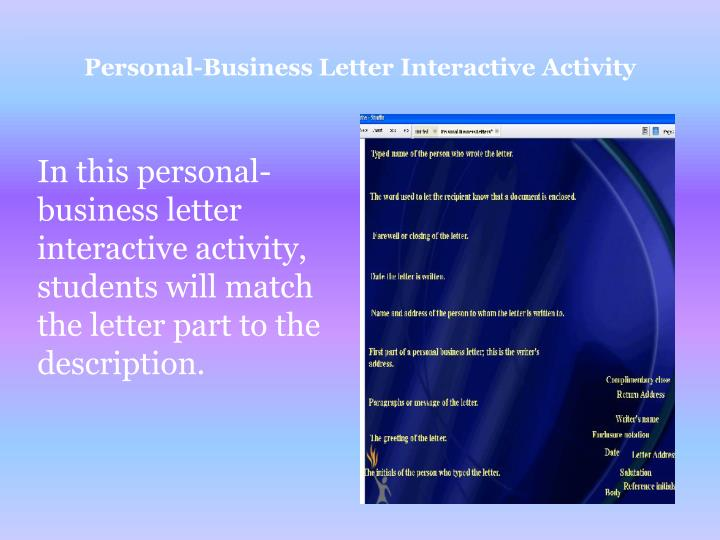 Personal-Business Letter Interactive Activity
