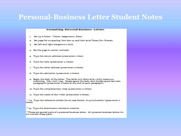 Personal-Business Letter Student Notes
