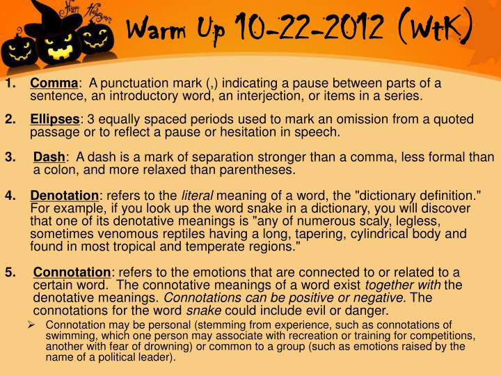 Warm Up 10-22-2012 (WtK)