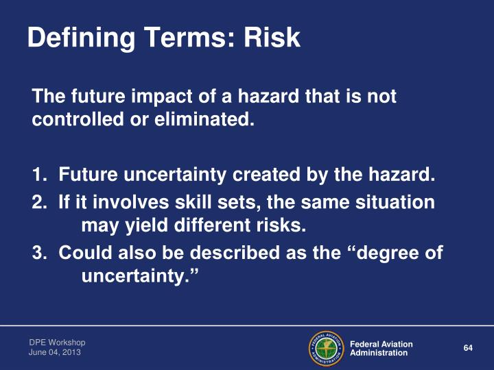 Defining Terms: Risk