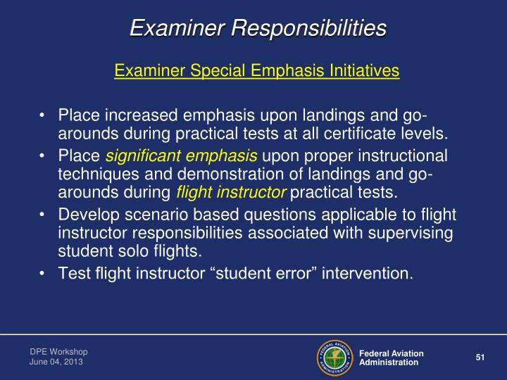 Examiner Responsibilities