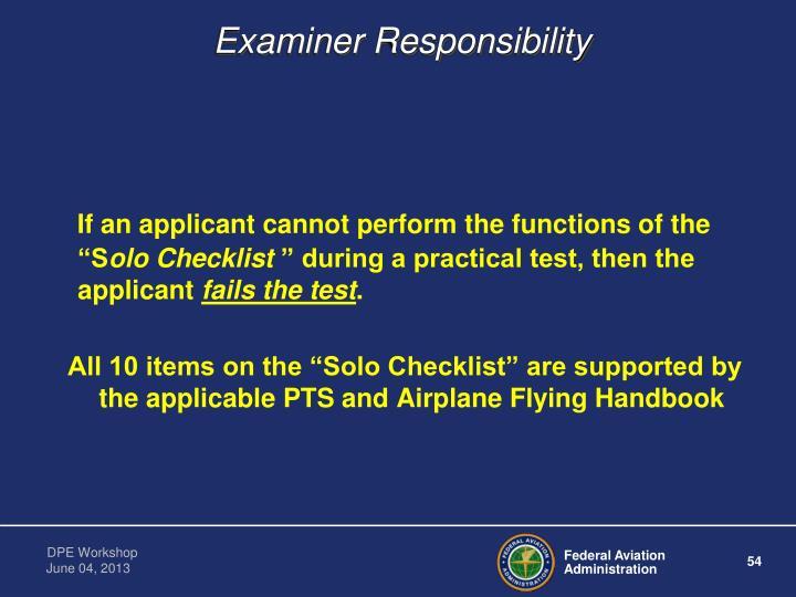 Examiner Responsibility