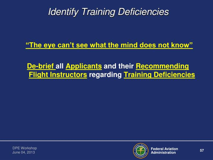 Identify Training Deficiencies