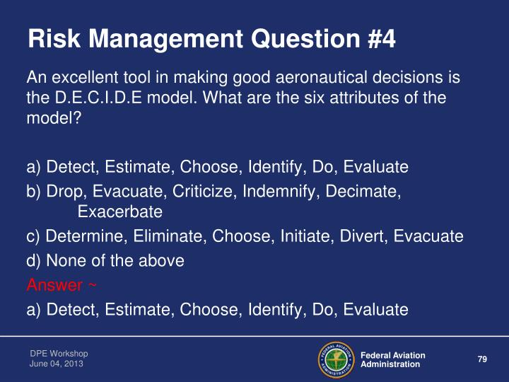 Risk Management Question #4