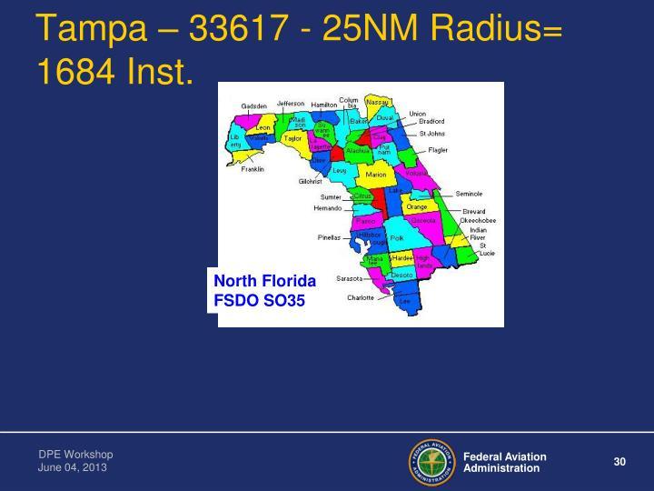Tampa – 33617 - 25NM Radius=