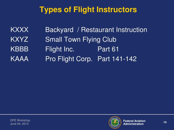 Types of Flight Instructors